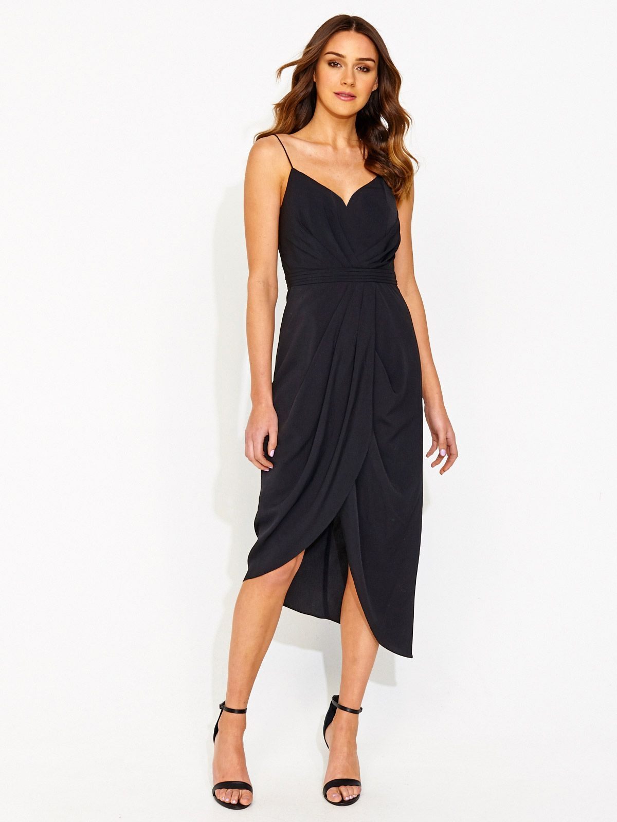 Shop For Romantic Drape Front Dress In Black From Portmans At Westfield Geelong Browse The Latest Styles Online And Buy A Store