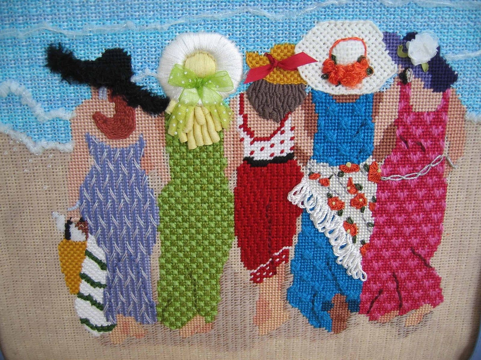 It's not your Grandmother's Needlepoint: It's Raining, It's Pouring, Let's all go to the Beach
