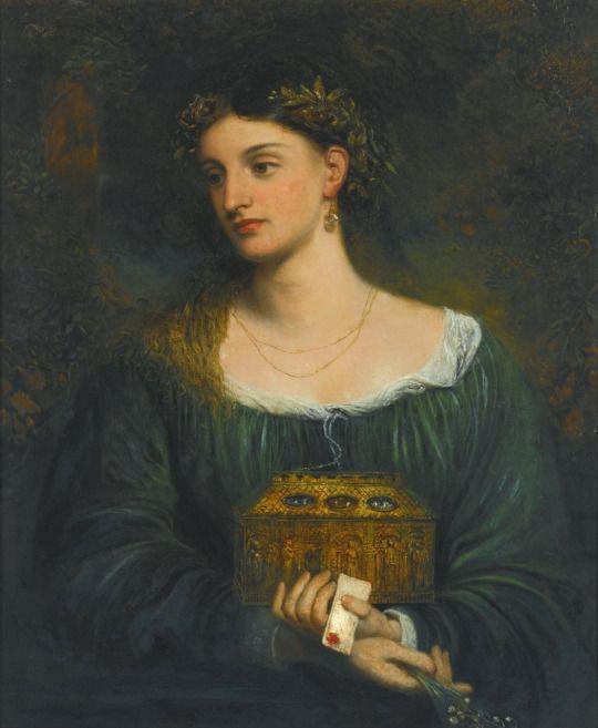 Pandora.c.1865. Oil on Canvas. 76.5 x 61 cm.  Art by James Smetham.(1821-1899).