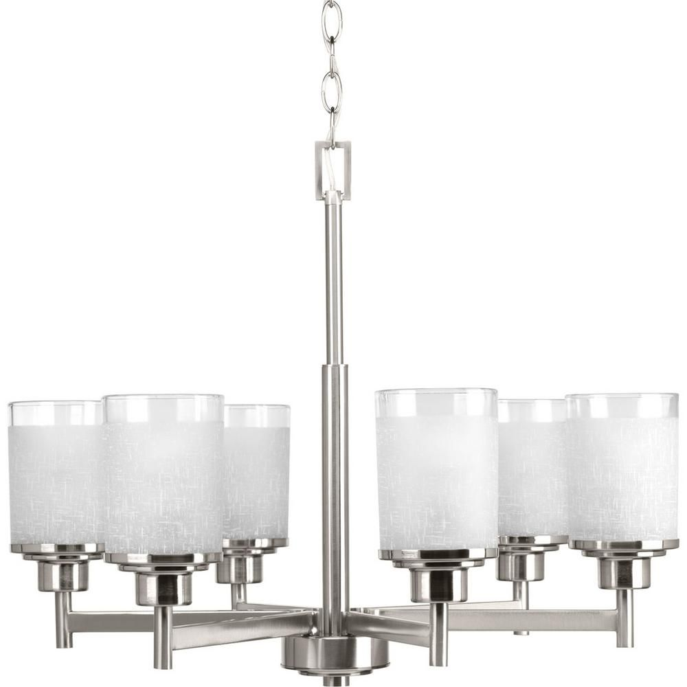 Progress Lighting Alexa Collection 6 Light Brushed Nickel Chandelier With Etched Linen Glass Shade P4758 09 Chandelier Ceiling Lights Brushed Nickel Chandelier Progress Lighting