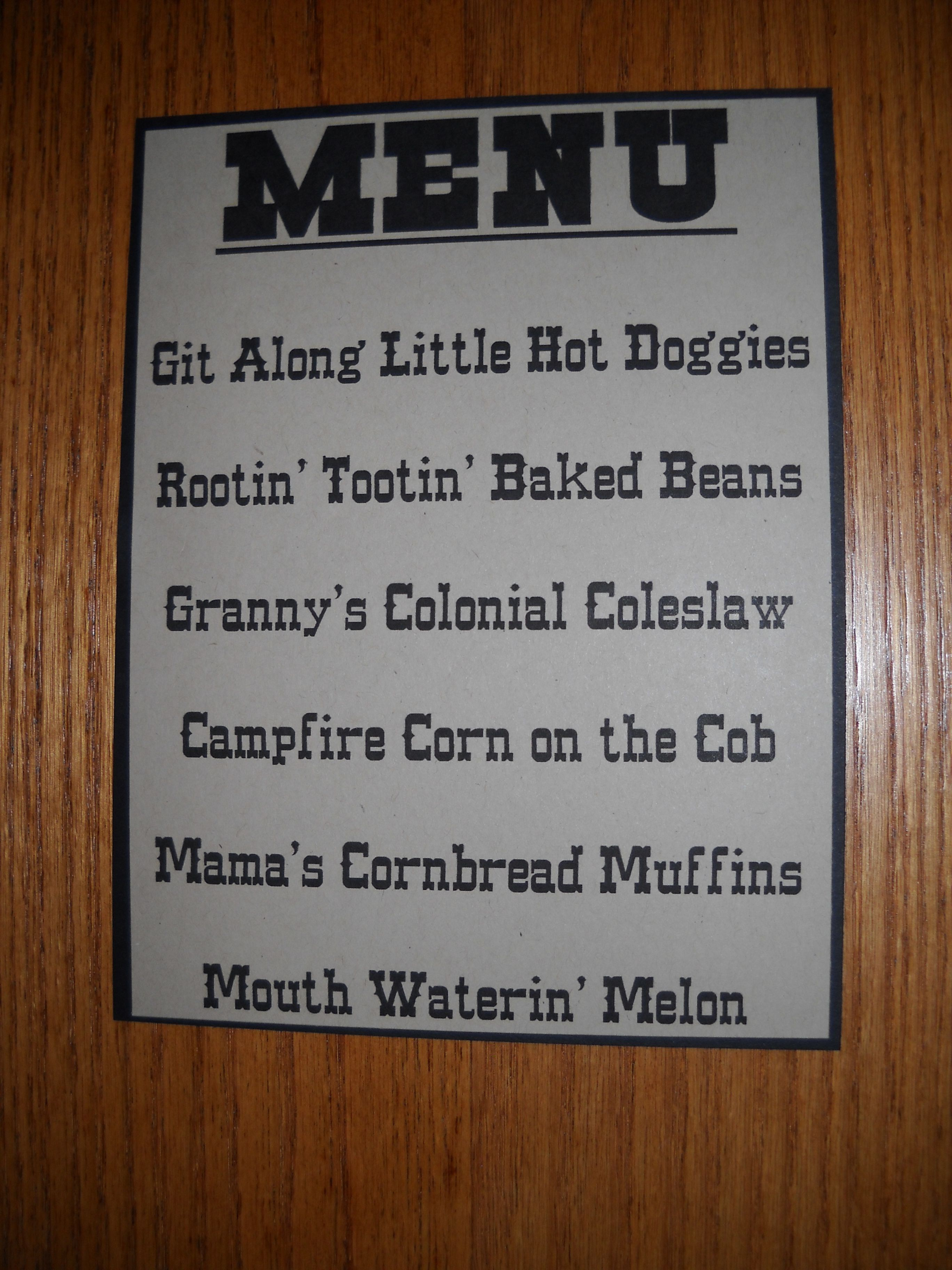 Menu For A Cowboy Party Cowboy Cowgirl Birthday Party