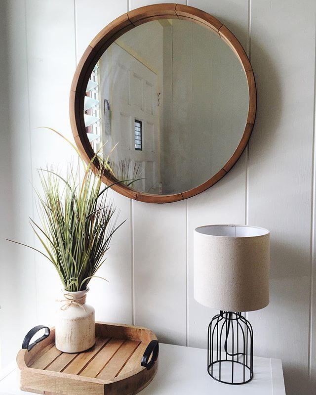 Round Decorative Wall Mirror Wood, Round Mirror Wall Decor Wood