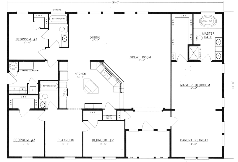 Metal 40x60 homes floor plans floor plans id get rid of the 4th bedroom and make that a garage this is my favorite floor plan so far