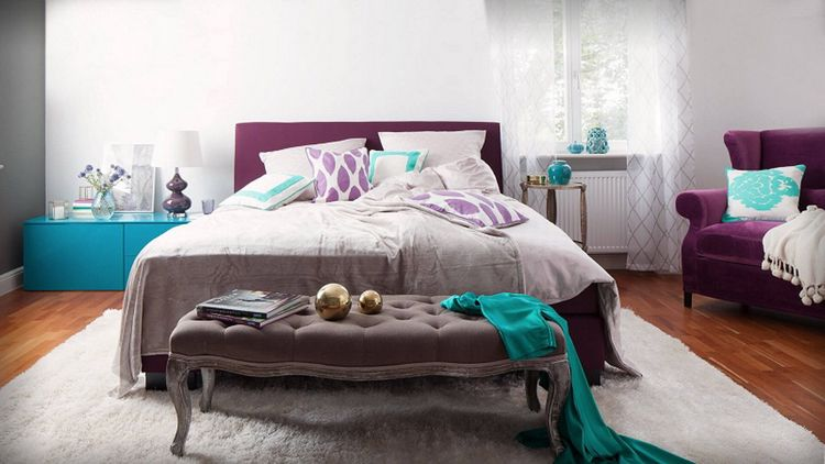Bettbank Schlafzimmer Vintage Modern Mix Violett Türkis Grau #bedroom  #furniture