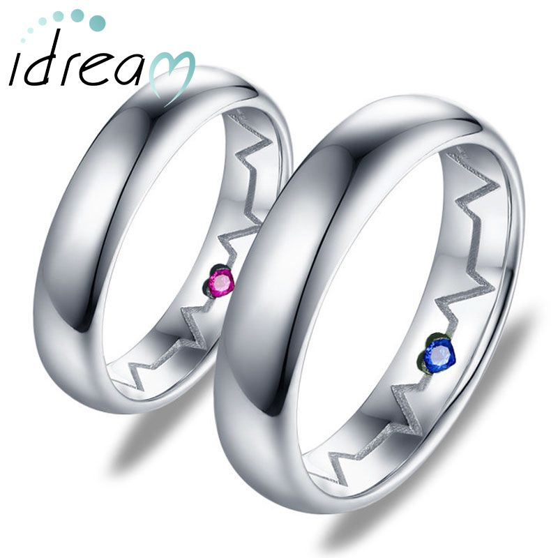 Men/'s Women/'s Wedding Ring Stainless Steel Heart Beat Ring Blue Fashion Band New