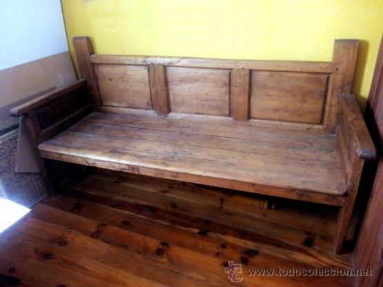 Banco esca o antiguo madera de olmo 3 cuarterones for Sofas antiguos
