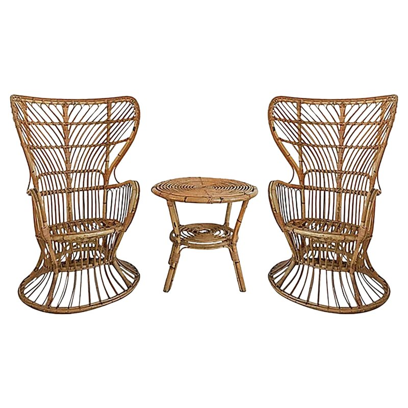 Rattan Wingback Chairs Slipcovers Oversized Chair And Ottoman Italian Mid Century Modern Products