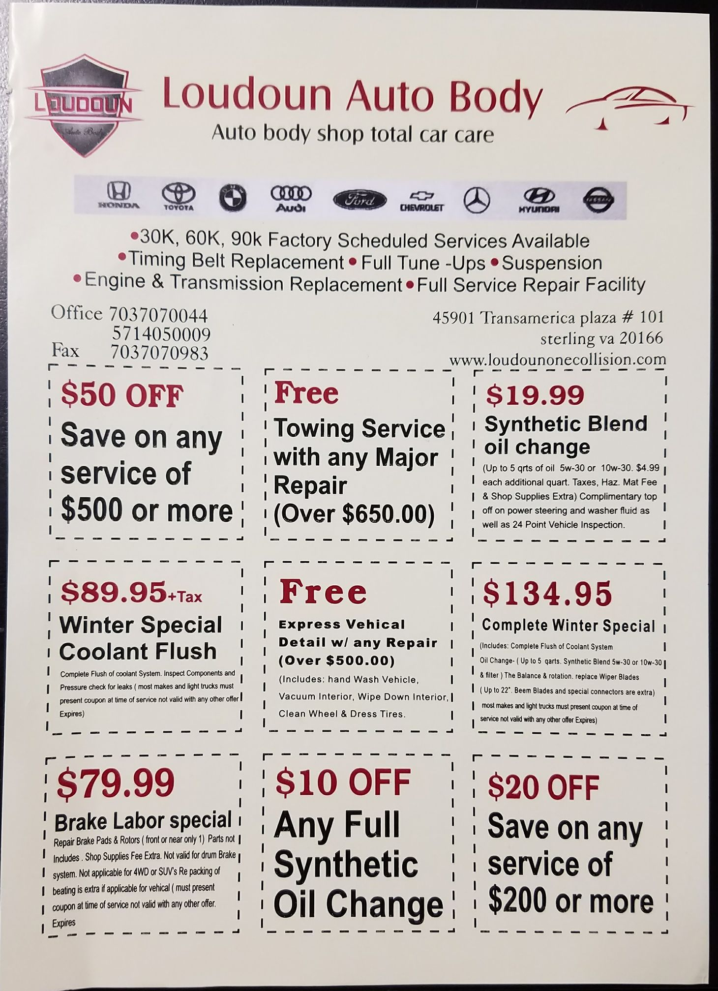 Special Discounts Offered At Loudoun Auto Body Call Today To Get A