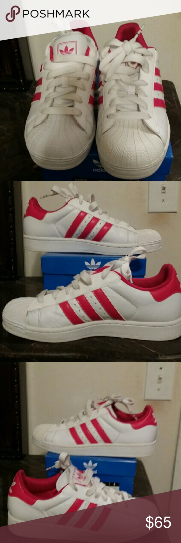 d12a3f1b1e0 Adidas women shoes White pink Adidas shell toe women s shoes. Excellent  condition only worn