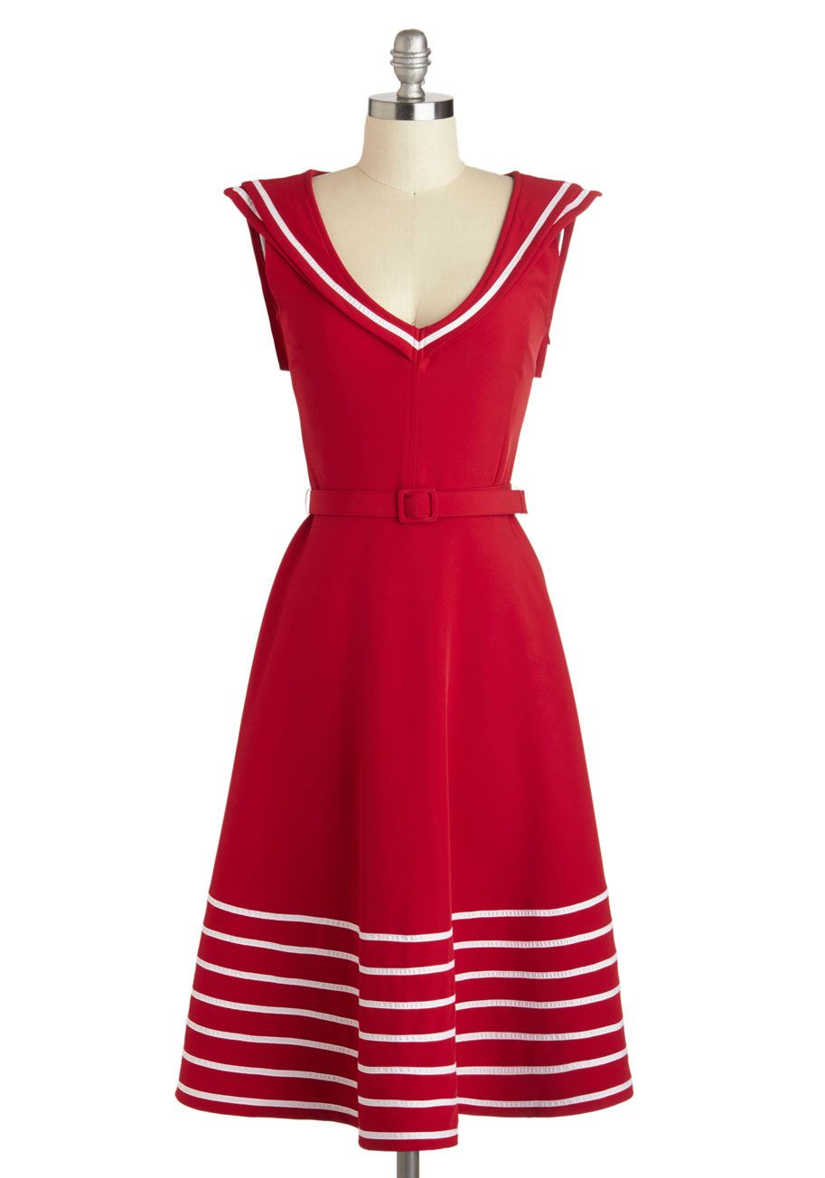 A-LINE PIN-UP DRESS RED AND BLACK FIT AND FLARE ROCKABILLY NAUTICAL THEME