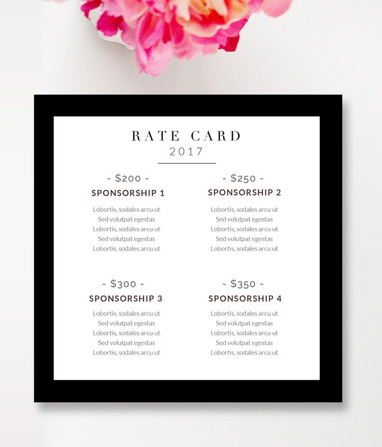 Fashion Beauty Blogger Rate Card Template By Stephanie Design Card Template Photography Invoice Makeup Business Cards