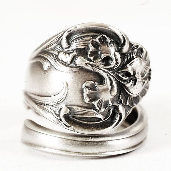 Sterling Silver Floral Iris Spoon Ring Late 1800s by Spoonier, $72.00