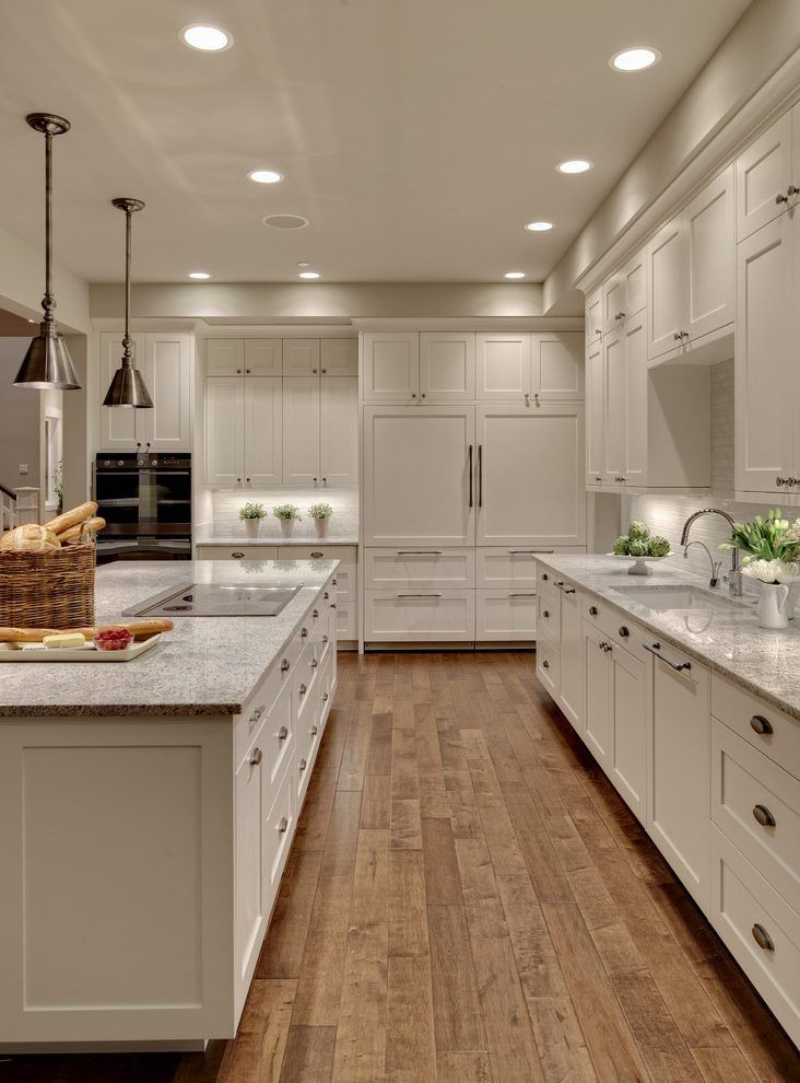 Forevermark ice white shaker cabinets kitchen transitional with kashmir granite square serving trays also rh pinterest