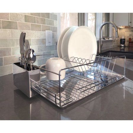 Dish Drying Rack and Draining Board with Chrome Utensil ...