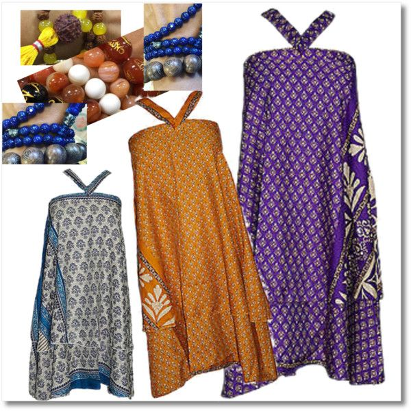 Bohemian Wrap Around Silk Sari Skirts by india-trendzs on Polyvore