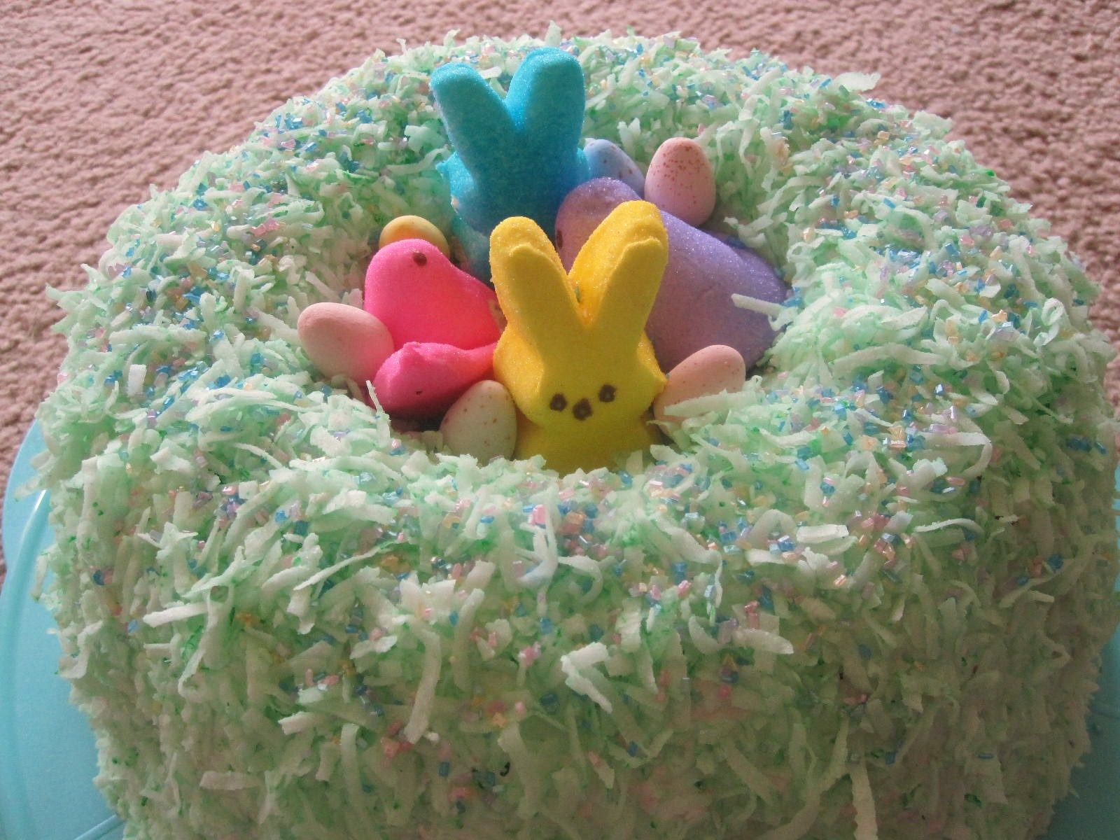 My Very Simple Easter Cake Creation 1 Make Angel Food Cake In Bundt Pan 2 Frost With Whipped Cream Or A Whi Easter Cake Easy Hoppy Easter Easter Dessert