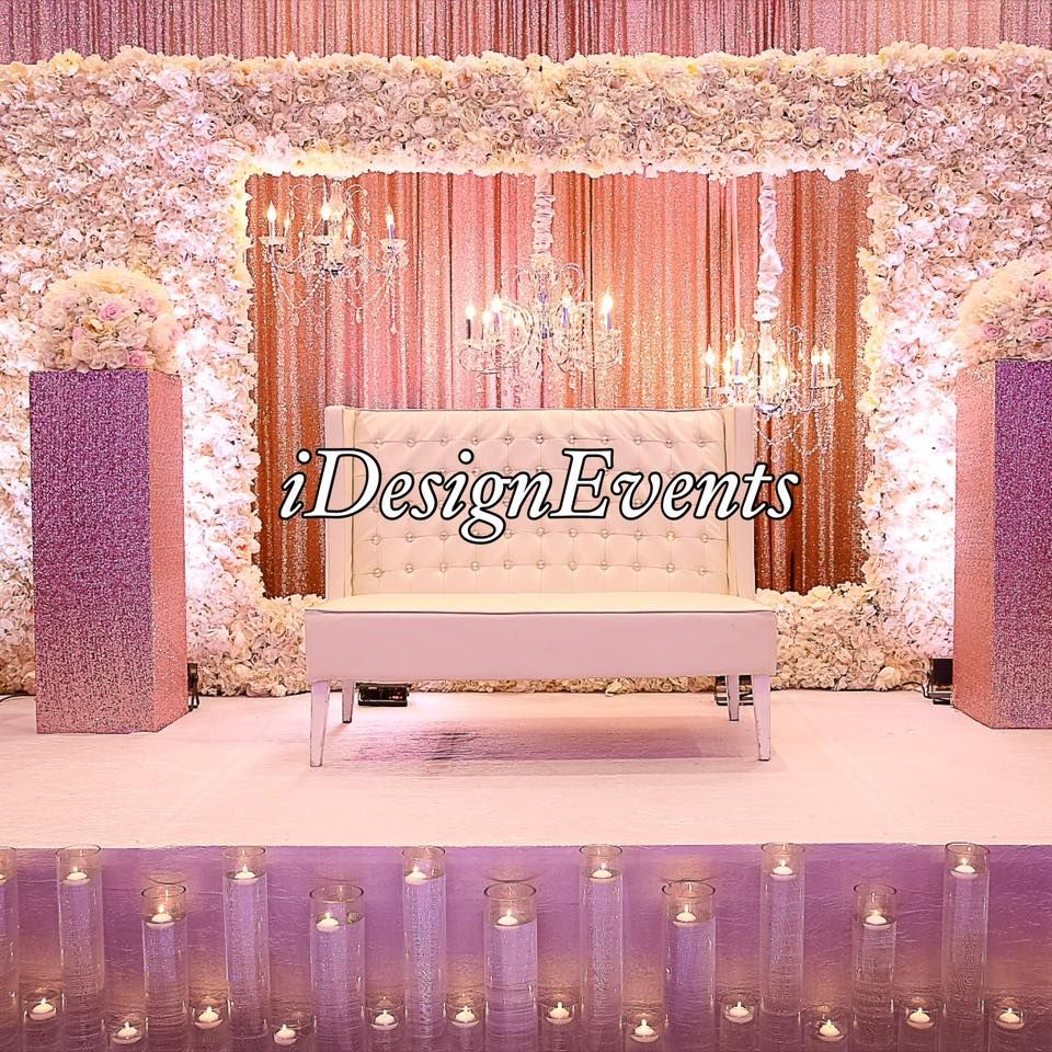 Ivory Roses Flowerwall Stage Decor For Reception Stage