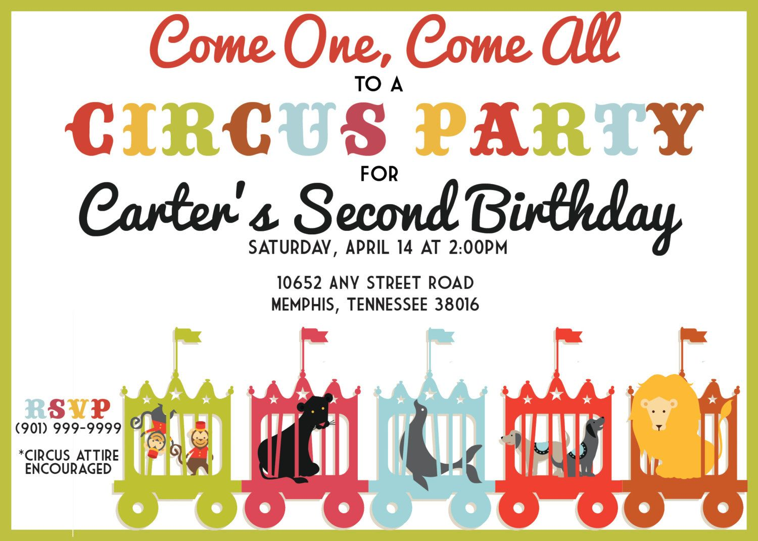 Birthday Party Invitation, Birthday, Party, Children, Kids, Circus ...
