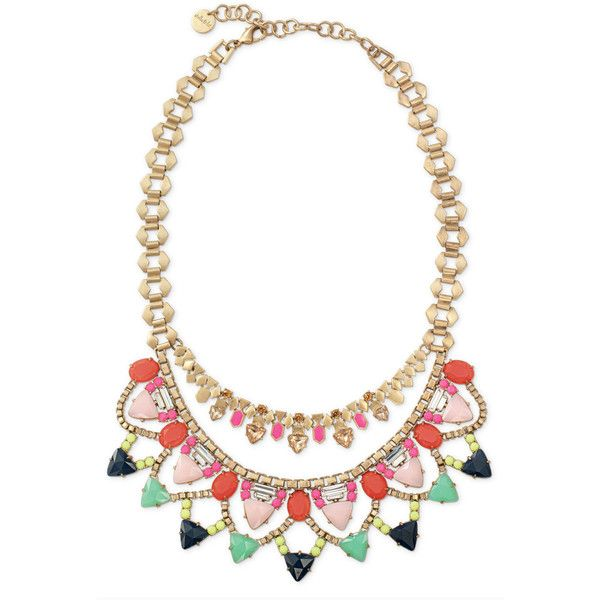 Stella & Dot Fanella Statement Necklace ($101) ❤ liked on Polyvore featuring jewelry, necklaces, accessories, collar, statement necklaces, multi color necklace, geometric necklace, tri color necklace, bib necklace and multicolor necklace