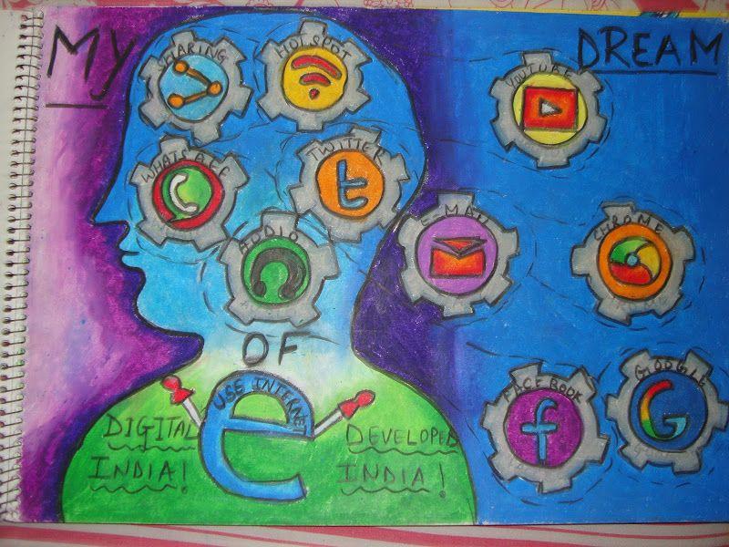 Art Digital India Drawings Ideas