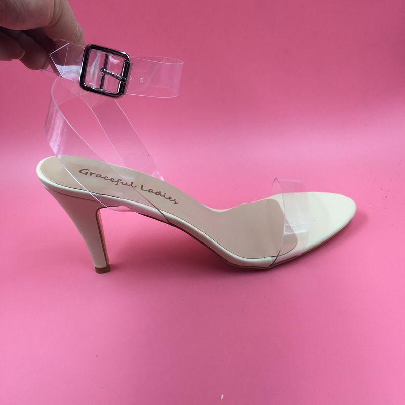 d2980eb1edd7 Find More Women s Sandals Information about Clear PVC Women Sandal 9CM High  Heels Open Toe Kim Kardashian Sandals Transparent Plastic Sandal Shoes For  Women ...