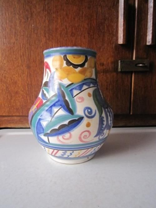 English Porcelain Art Deco Design Poole Vase Item No 115 For Sale