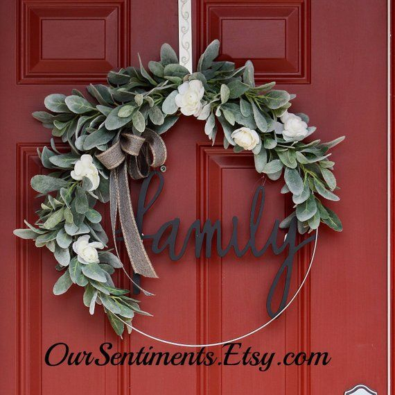 Photo of Items Similar to Hoop Wreath with Artificial Lambs Ear Stems and White Flowers Blossoms Wedding Wreath Monogrammed Gifts Personalized Item Door Wreath on Etsy