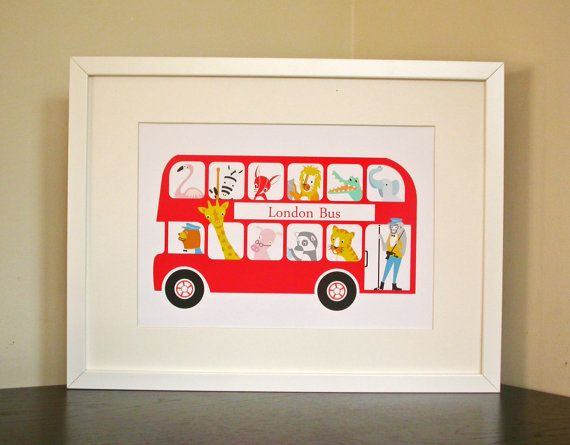 A4 London Bus Nursery Print New Baby Print by moonglowart on Etsy