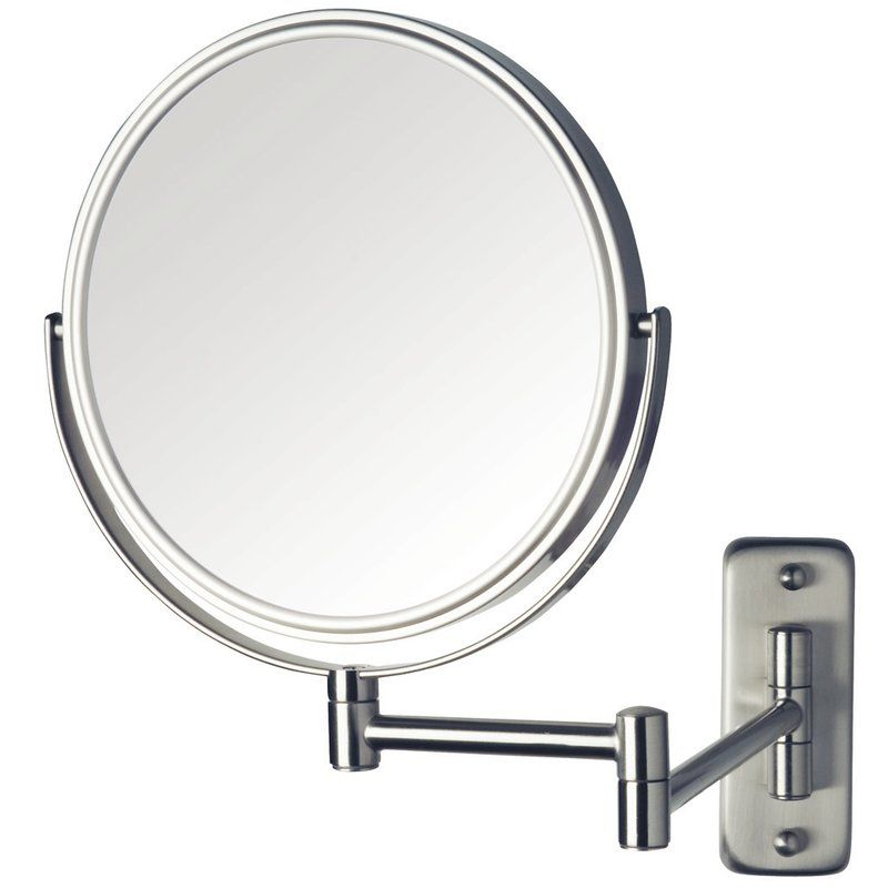 Brushed Nickel Wall Mounted Make Up Mirror No Light With Images