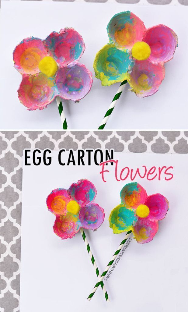 Colorful Egg Carton Flowers for preschool spring craft www.iheartartsncrafts.com/ {pacifickid.net/}