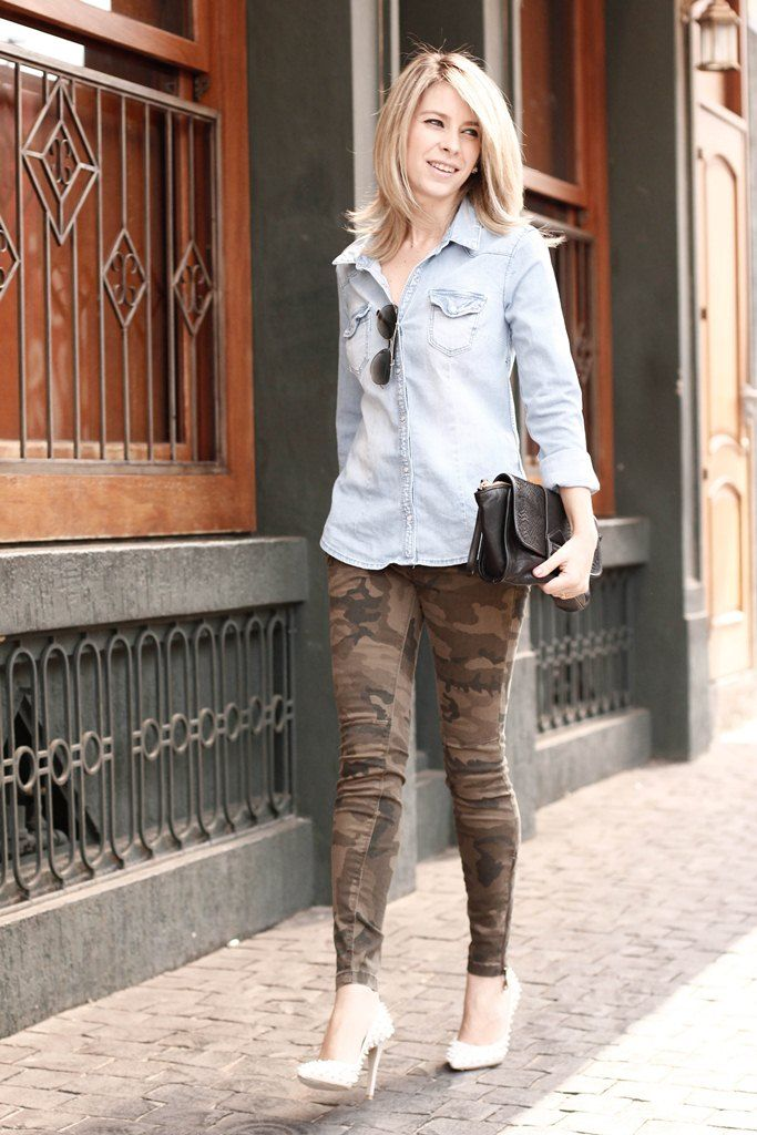 camuflado + jeans+ spikes.