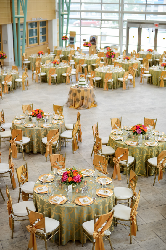 Orange Hot Pink And Coral Meet Gold In This Gorgeous Wedding At The Schuster Center Images Henry Photography Wedding Event Planning Party Event Event Decor