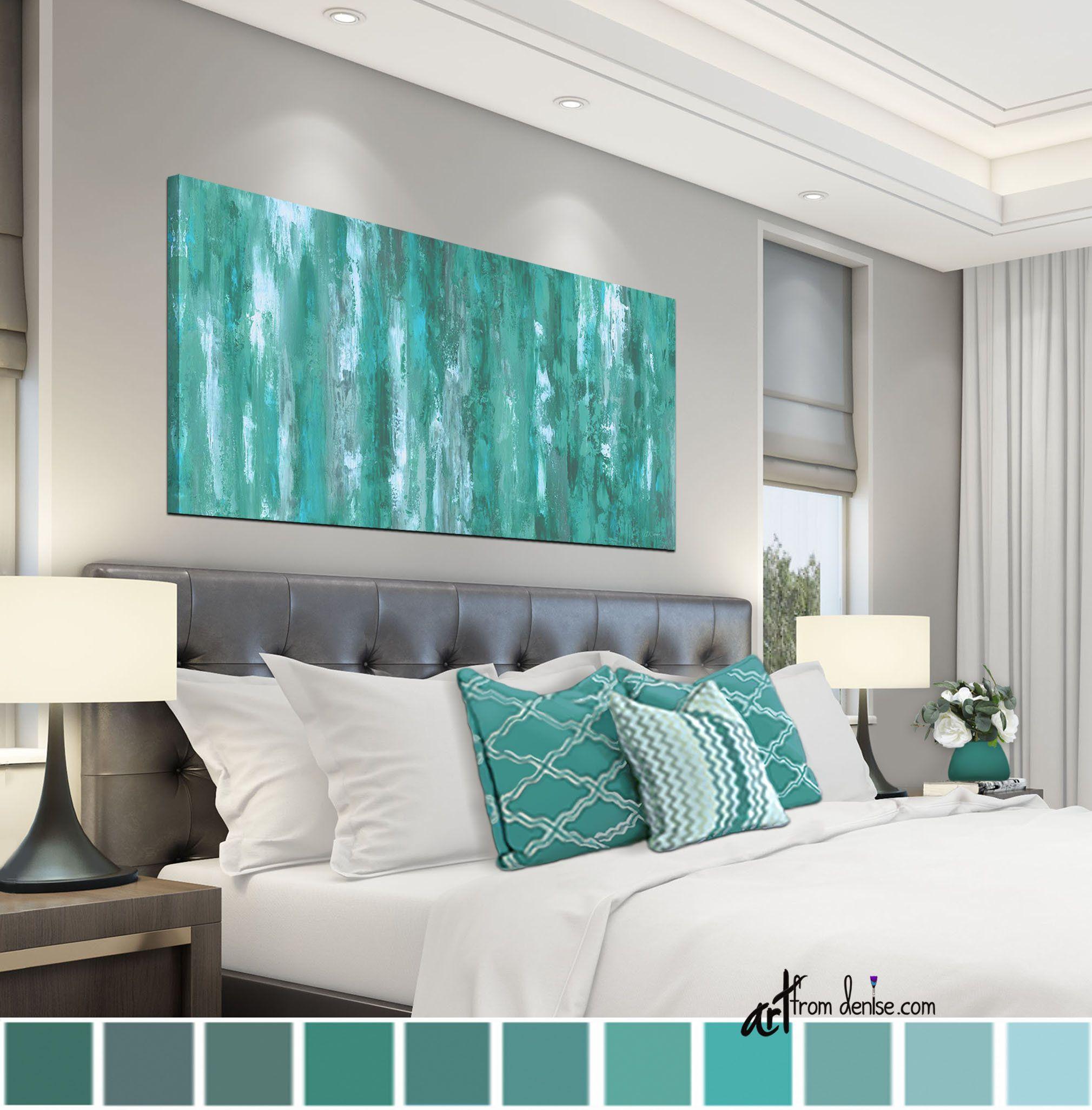 Gray green teal wall art canvas abstract bedroom wall
