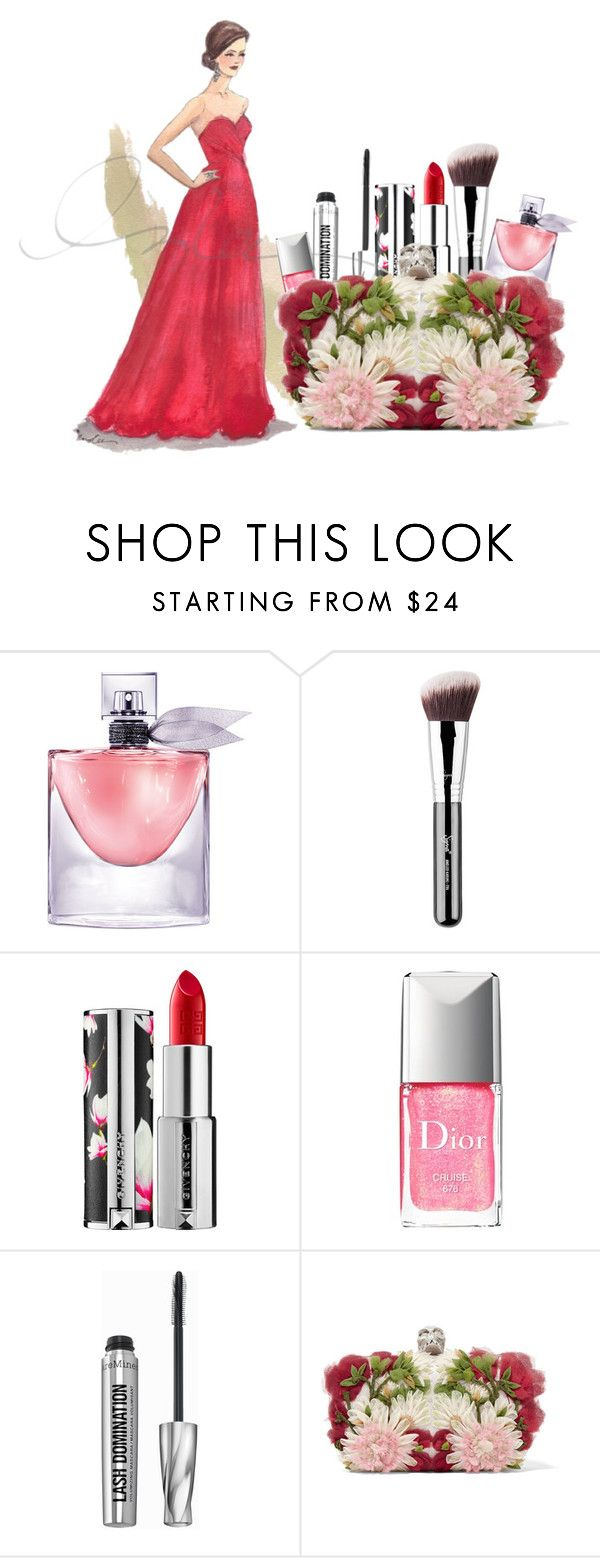 """""""Red Gown"""" by dedication ❤ liked on Polyvore featuring beauty, Lancôme, Givenchy, Christian Dior, Bare Escentuals, Alexander McQueen, red and gown"""