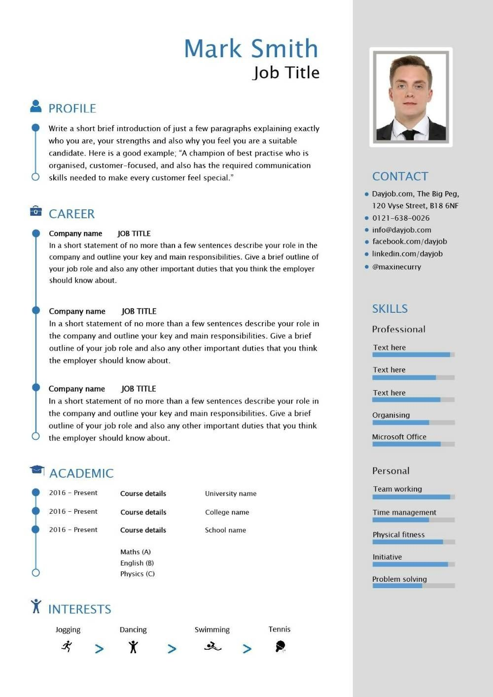 Free Resume Download Template Free Downloadable Cv Template Examples Career Advice How To Write