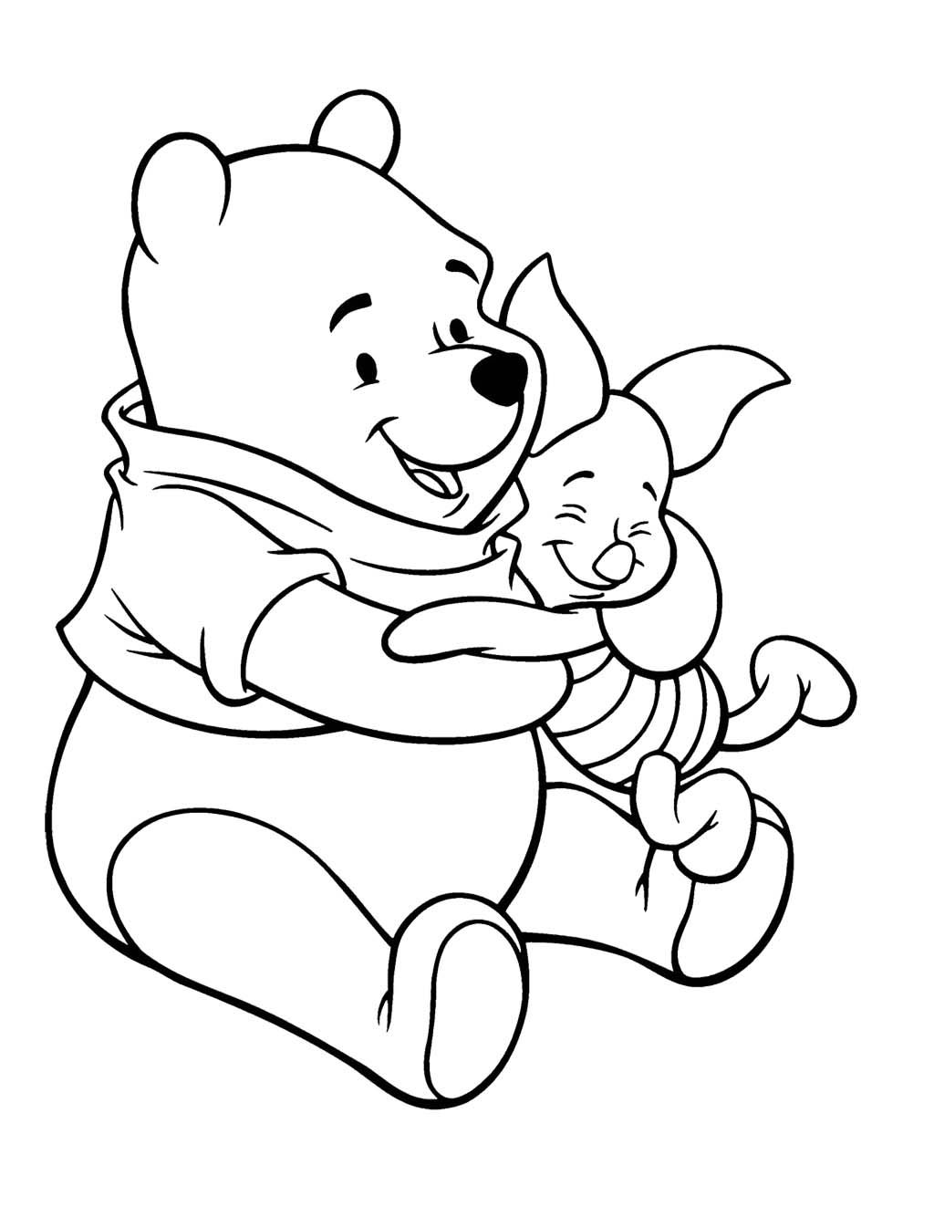 Winnie The Pooh Care With Piglet Coloring Page Bears Teckningar Nalle Puh Farglaggningssidor