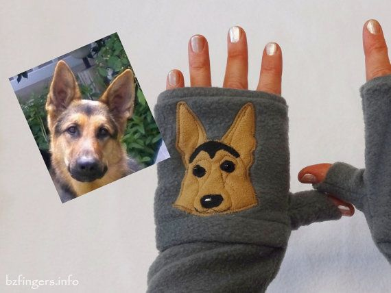 Dog Portrait Custom Fingerless Gloves With Pockets Dog