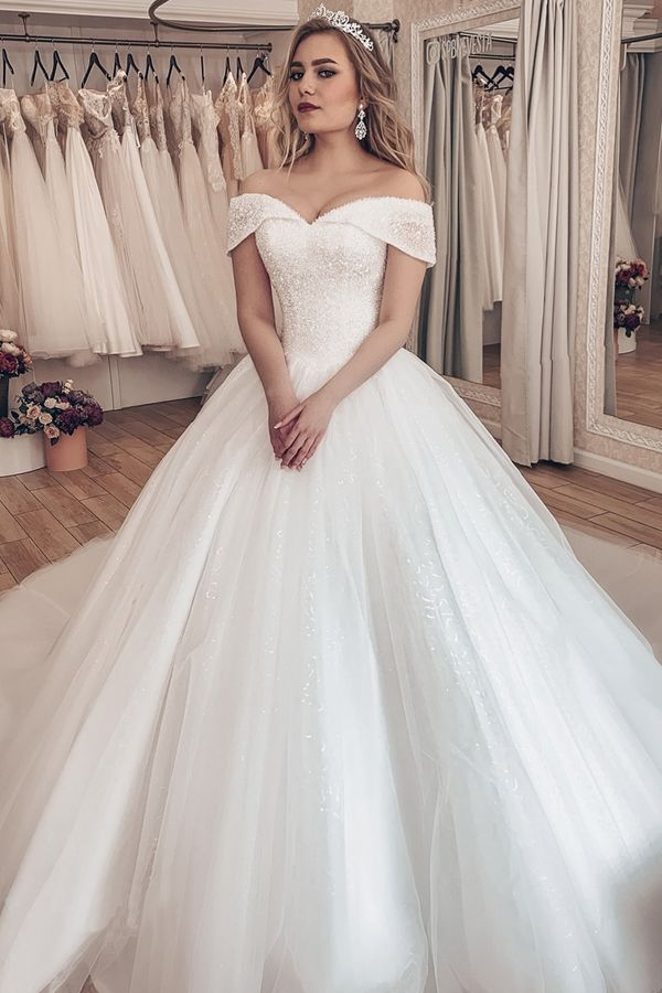 Sparkling Tulle Off The Shoulder Neckline Ball Gown Wedding Dresses With Rhinestones Ball Gowns Wedding Wedding Dresses Ball Gown Wedding Dress