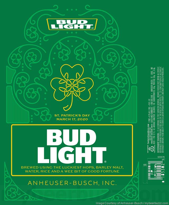 Bud Light Unveils St Patrick S Day 2020 Cans Bud Light Light Bud