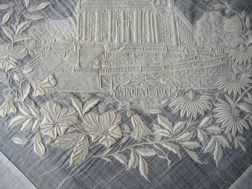 "Maria Niforos - Fine Antique Lace, Linens & Textiles : Antique Lace # LA-208 Magnificent Appenzel Hankerchief of ""Vincent De Paul"""