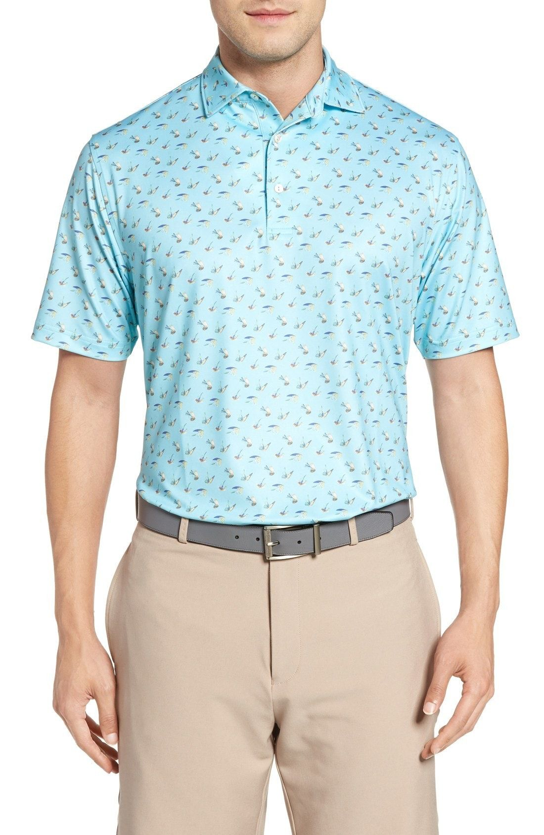 New Peter Millar Pointer Mini Dot Golf Polo ,BIRCH fashion