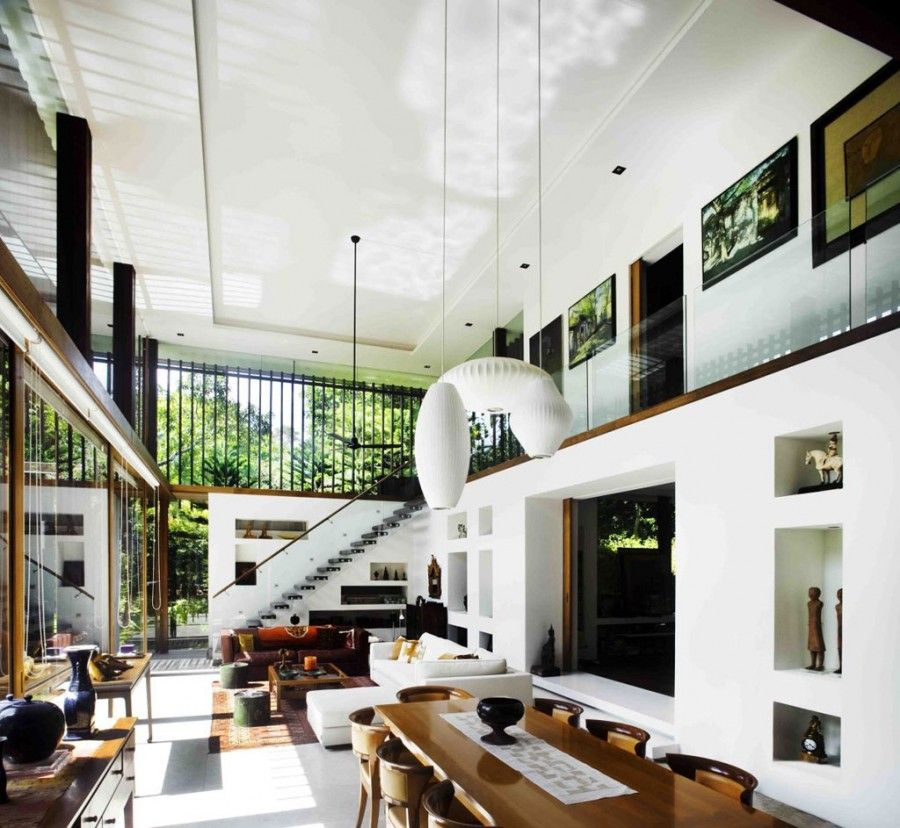 Modern Interior Design For House: Sun House In Singapore (Photo 13) Double Height Living