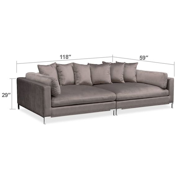 Living Room Furniture Moda 2 Piece Sofa Oyster Furniture
