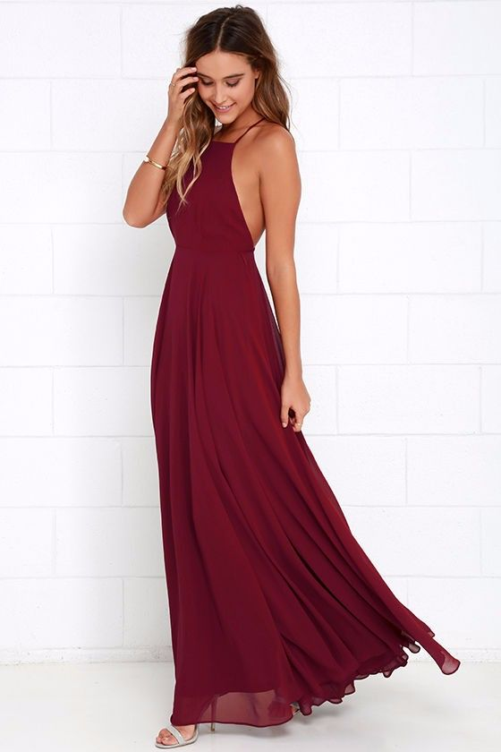 cba14f0a209c5 Wine Red Chiffon Evening Party Dress | Pretty Things ❤ | Backless ...