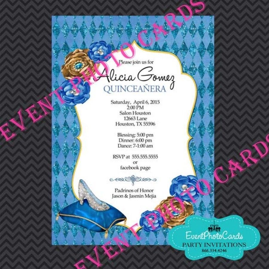 Glass Slipper Sweet 15 Invitations -Princess Blue, Quinceanera ...