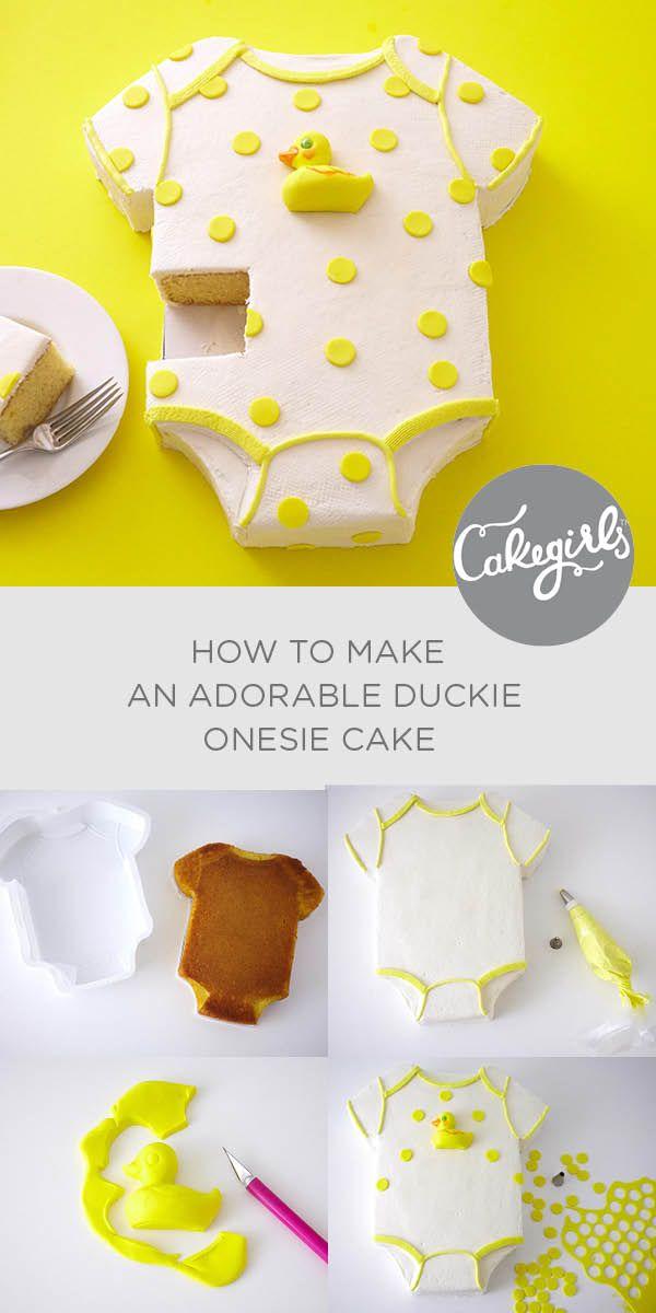 How To Make A Duckie Onesie Cake Cakegirls Tutorials Baby Shower