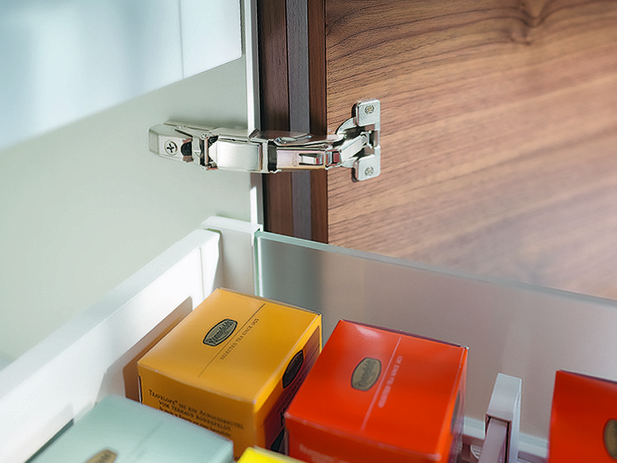 The 71t7500n 155 Clip Top Zero Protrusion Hinge From Blum Is Most Commonly Used With Interior Rollouts Where The Door Must C Hinges For Cabinets Hinges Hafele