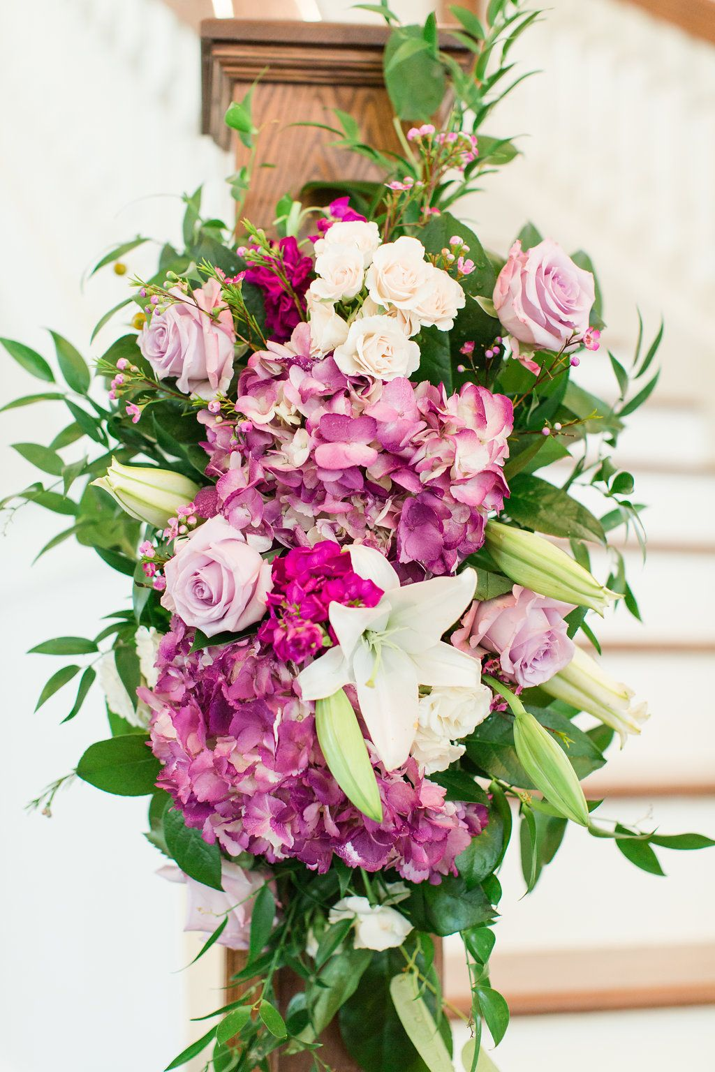 wedding staircase floral arrangement | lavender wedding decorations ...