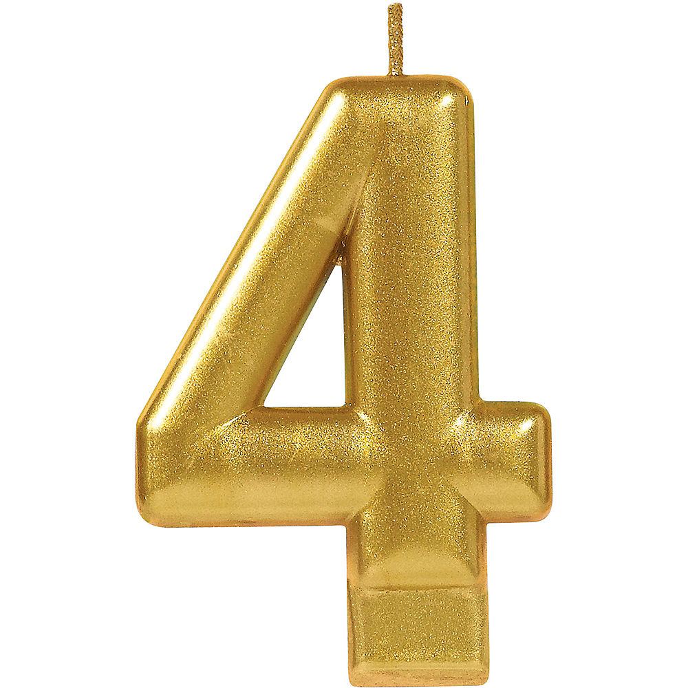 Gold Number 4 Birthday Candle 2 1 4in X 3 1 4in Birthday Candles Gold Celebration Number Candle
