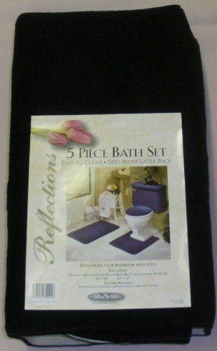 5 Piece Black Bathroom Rug Set Includes Area Rug Contour Rug